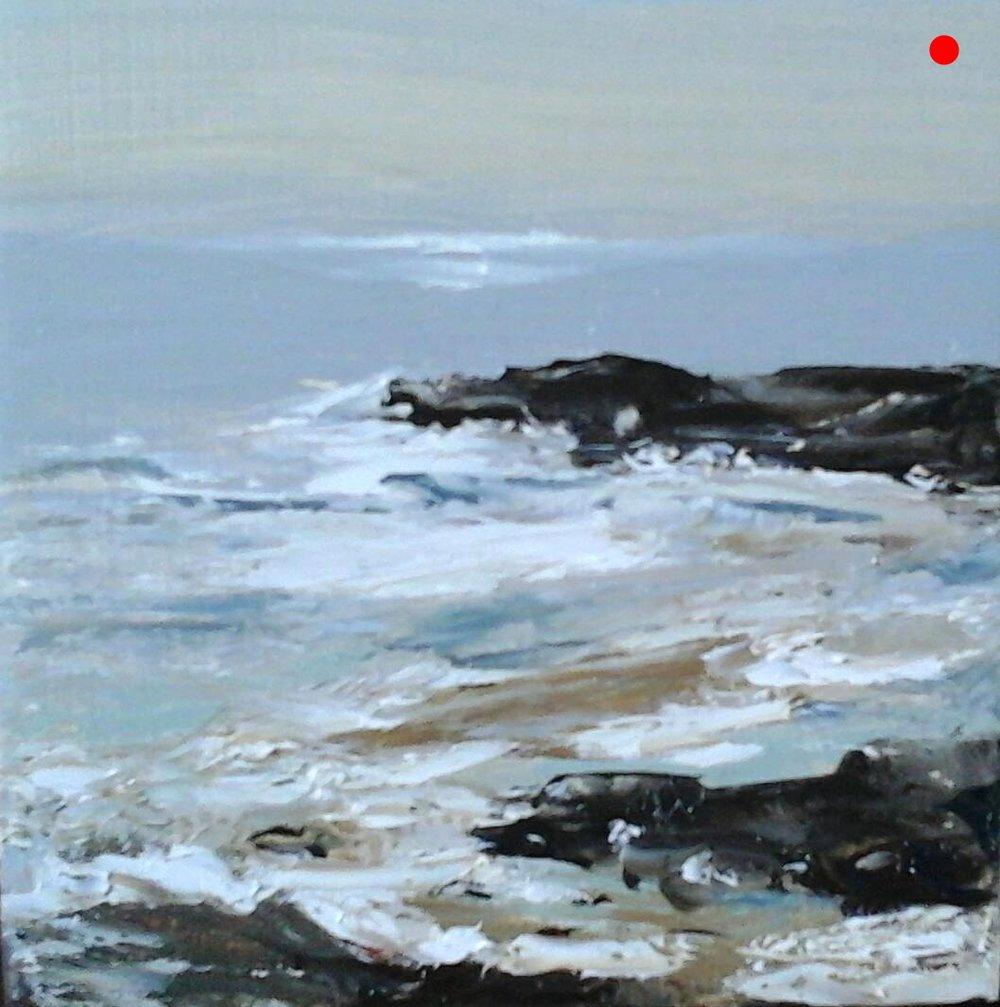 "Copy of On the Rocks - Marginal Way, Ogunquit Beach, ME,  4"" x 4"" x 1""D Oil on cradled wood panel"