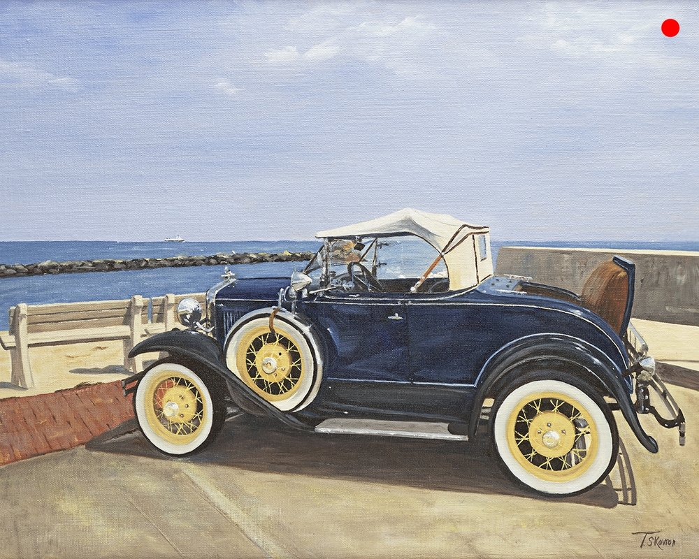 """Copy of Antique Model A Ford Roadster 1930's - 18"""" x 24"""" oil on linen panel"""