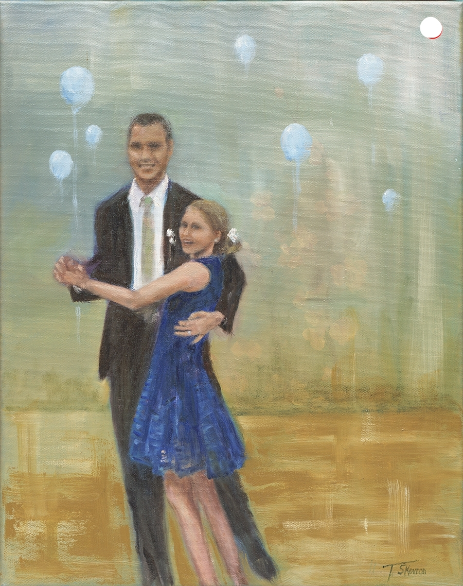 """Father and Daughter Dance,   16"""" x 20"""" oil on canvas"""
