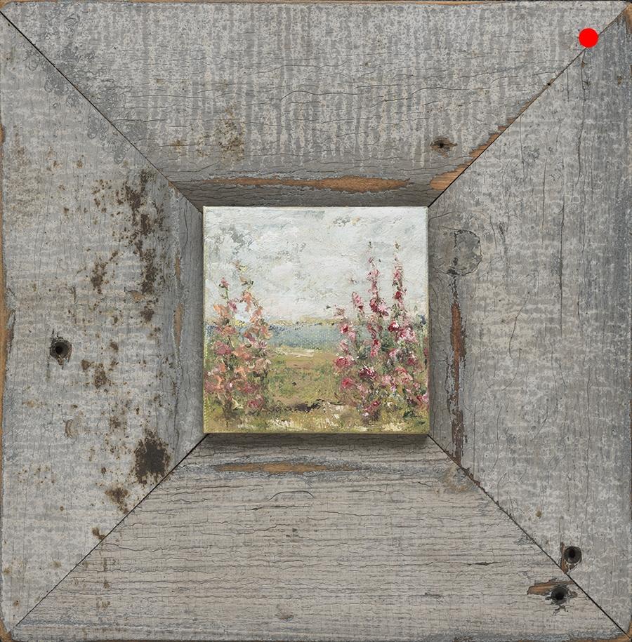 "Copy of Seaside Garden - 4"" x 4"" oil on canvas in 11"" x 11""  reclaimed wood frame"