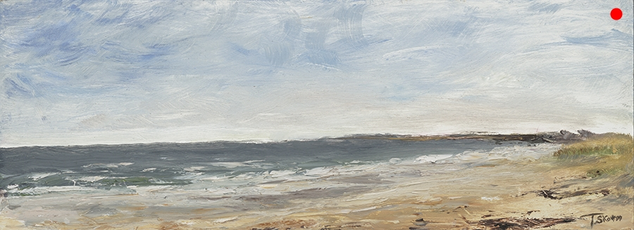 """Copy of Calm at the Beach - Seabrook, NH / Salisbury, MA Line, 6"""" x 16"""" x 1.5""""D Oil on canvas panel in silver finish floater frame"""