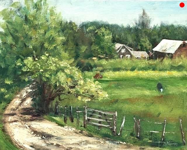 "Copy of Meadowbrook Farm - Merrimac, MA, 8"" x 10"" Oil on canvas panel in 3.25""W black frame"