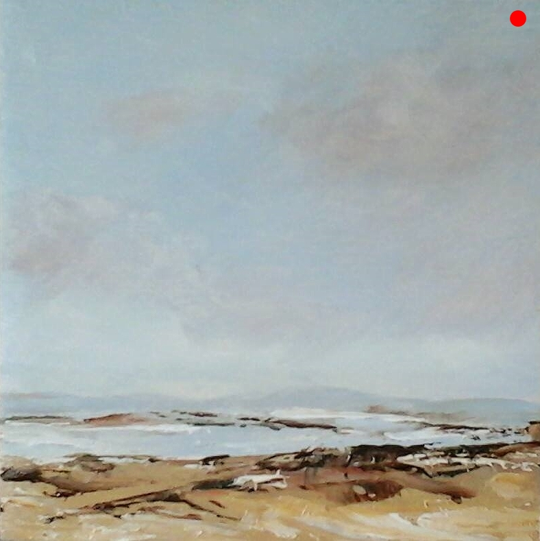 """Copy of Along the Shore - 4"""" x 4"""" x 1""""D Oil on cradled wood panel"""