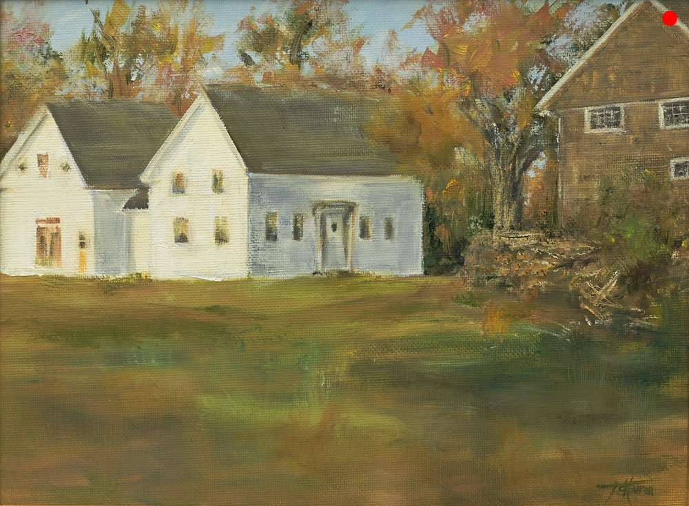 """Copy of Autumn In The Neighborhood - 9""""x 12"""" oil on canvas panel in 3.5""""W black with gold liner frame"""