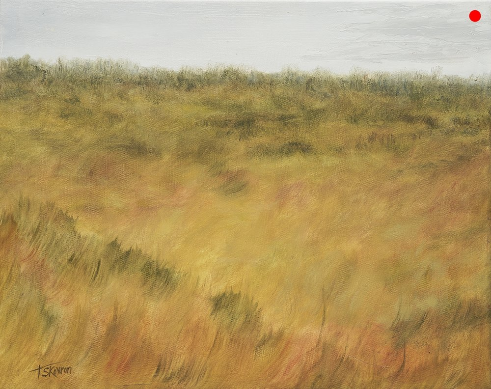 """Copy of Autumn Field - 16"""" x 20"""" Oil on canvas in 3.5""""W black frame"""