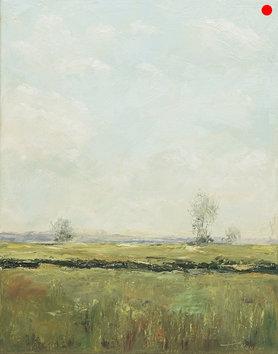 """Copy of Meadow View 1 - of diptych 14"""" x 18"""" x 1.5""""D Oil on canvas in natural finish floater frame"""