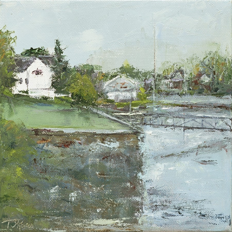 """Dockside"" Boothbay, Maine, 8x8"" oil on canvas"