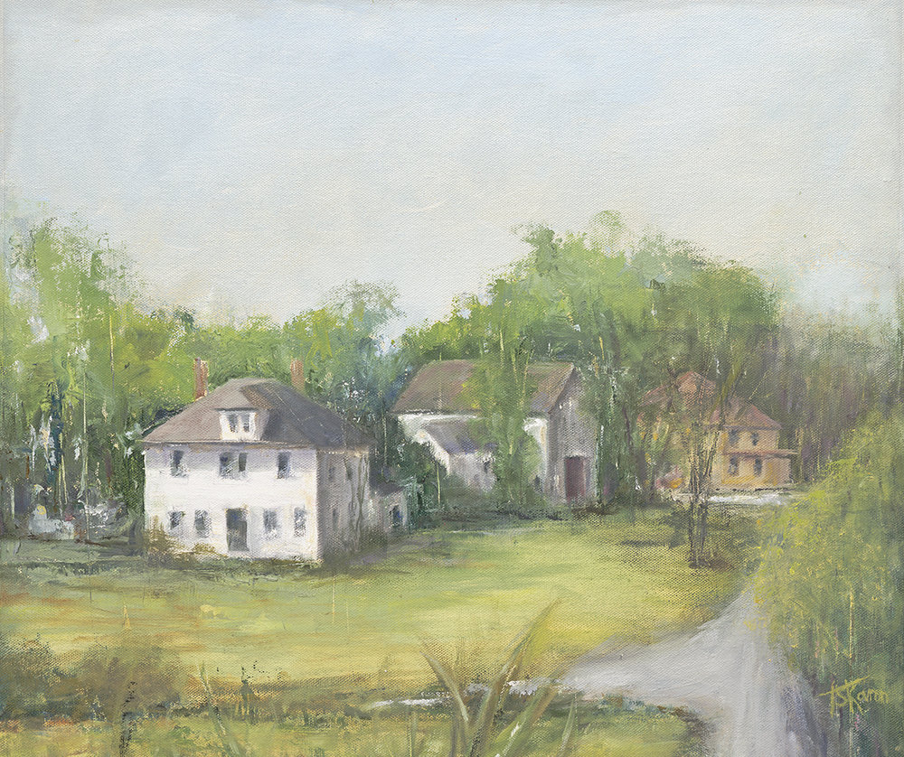 """Close To Home - Newton, NH, 15x18"""" plein air oil on canvas panel in 3/4""""W blk frame"""