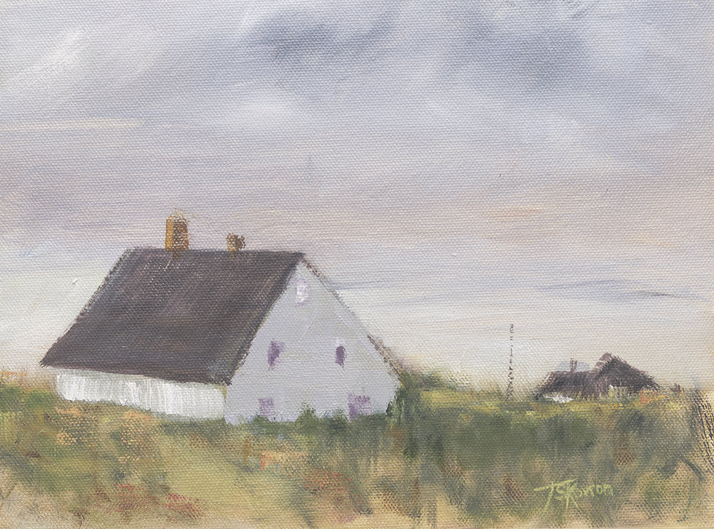 "Dune Cottage - 8x10"" oil on canvas panel in 3""W weathered wood frame"