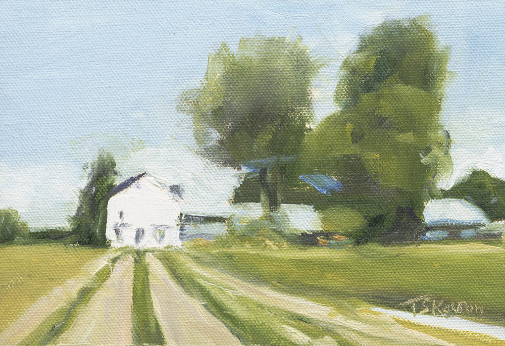 """Fields of Gold - Barker's Farm, Stratham, NH, 5x7"""" oil on canvas panel in 3.5""""W blk frame"""