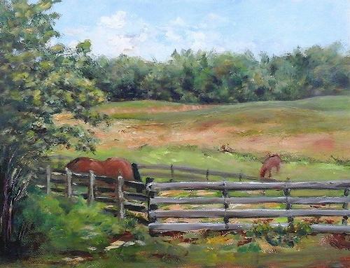 "Nicol's Horse Farm - Newton, NH, 9"" x 12"" Oil on canvas panel in 3.25""W black frame"