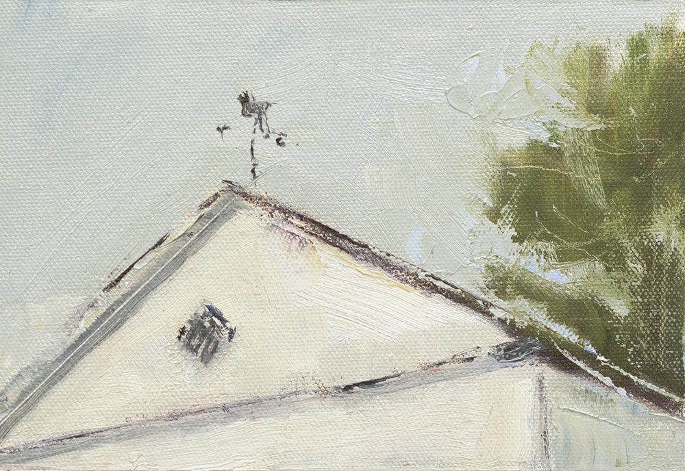 """Come Rain Or Shine - 5 x 7"""" oil on canvas board in 2.5""""W black frame"""