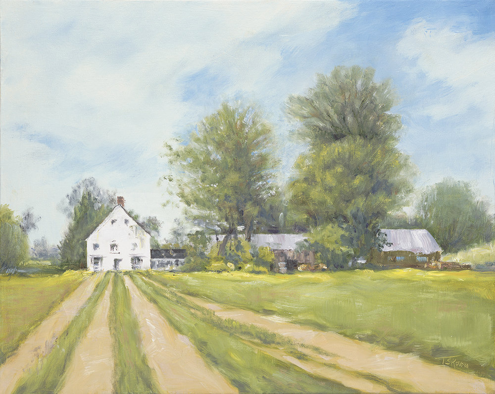 """Feilds Of Gold - Barker's Farm, Stratham, NH 16 x 20"""" oil on stretched canvas in 1.5""""D natural finish floater frame"""