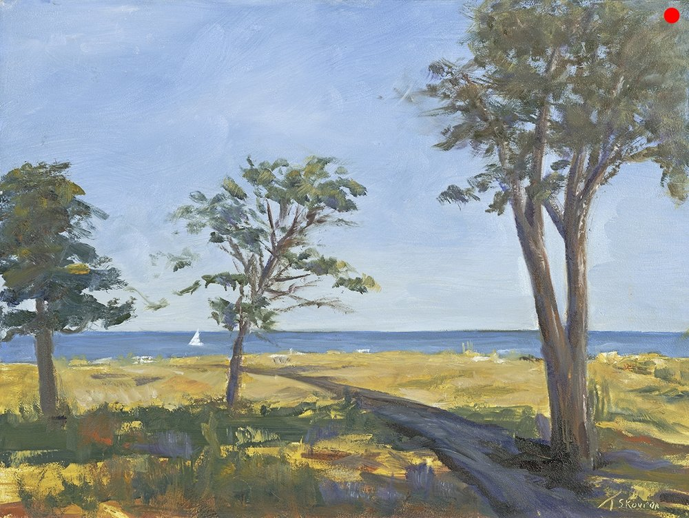 "Odiorne Point - Rye NH, 12 x 16 plein air oil on panel in 3.5""W blk frame"