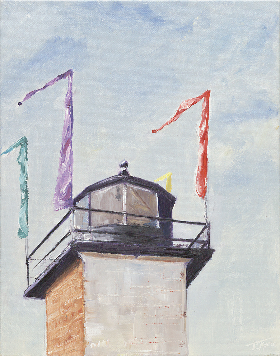 """Rear Range Lighthouse - Water St., Newburyport, MA, 11"""" x 14"""" oil on stretched canvas in natural finished floater frame"""