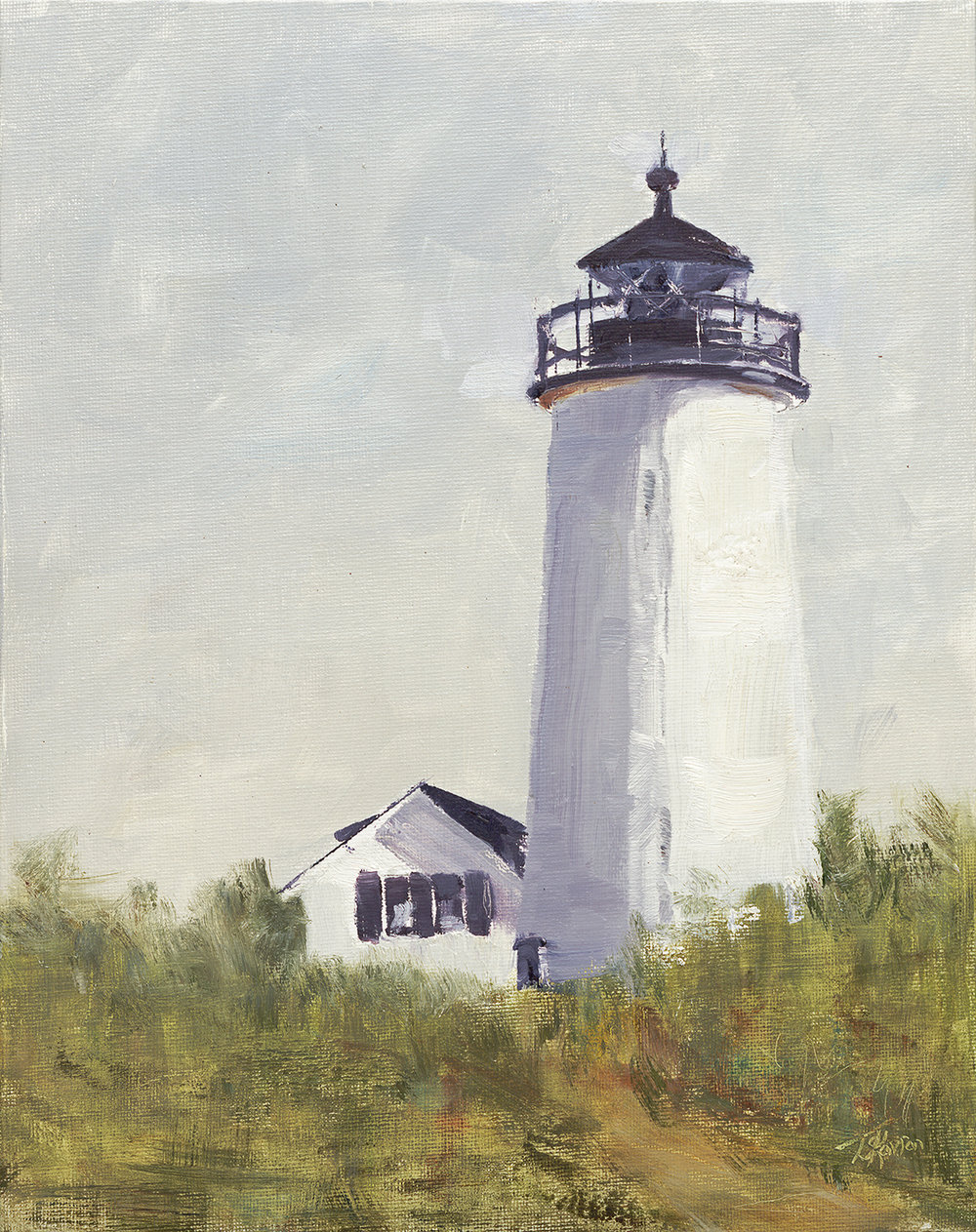 """Standing Tall - Newburyport Harbor Lighthouse, Plum Island, 11"""" x 14"""" oil on canvas board in natural finished floater frame"""