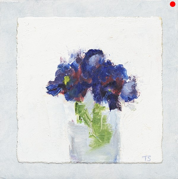 Blue Violets - 4 x 4 oil on paper mounted to cradled panel