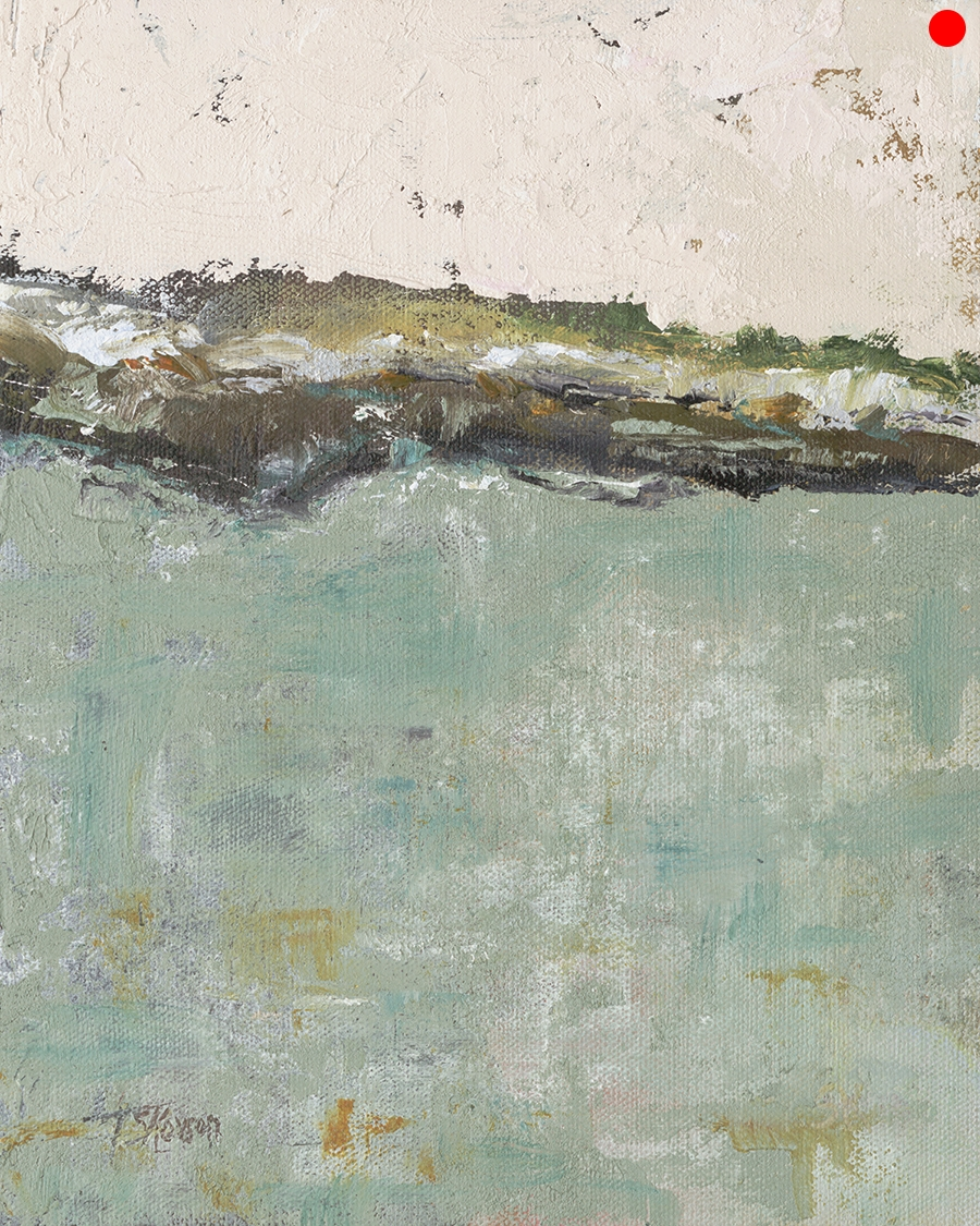 """Rising Tide - 8 x 10"""" oil and cold wax on canvas panel in 3""""W silver leaf frame"""