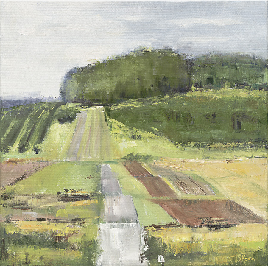 """Cider Hill Farm - Amesbury, MA, 12 x 12"""" oil on stretched canvas in black floater frame"""