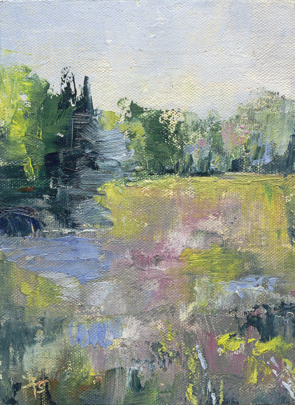 "Fuller Gardens #2 - North Hampton, NH, 5 X 7"" oil on canvas panel in silver finished floater frame"