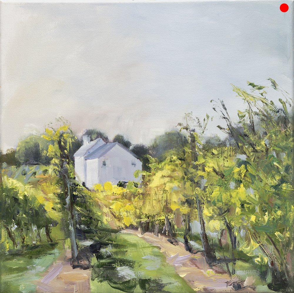 "Jewell Towne Vineyards - South Hampton, NH, 12 x 12"" oil on stretched canvas in black floater frame"