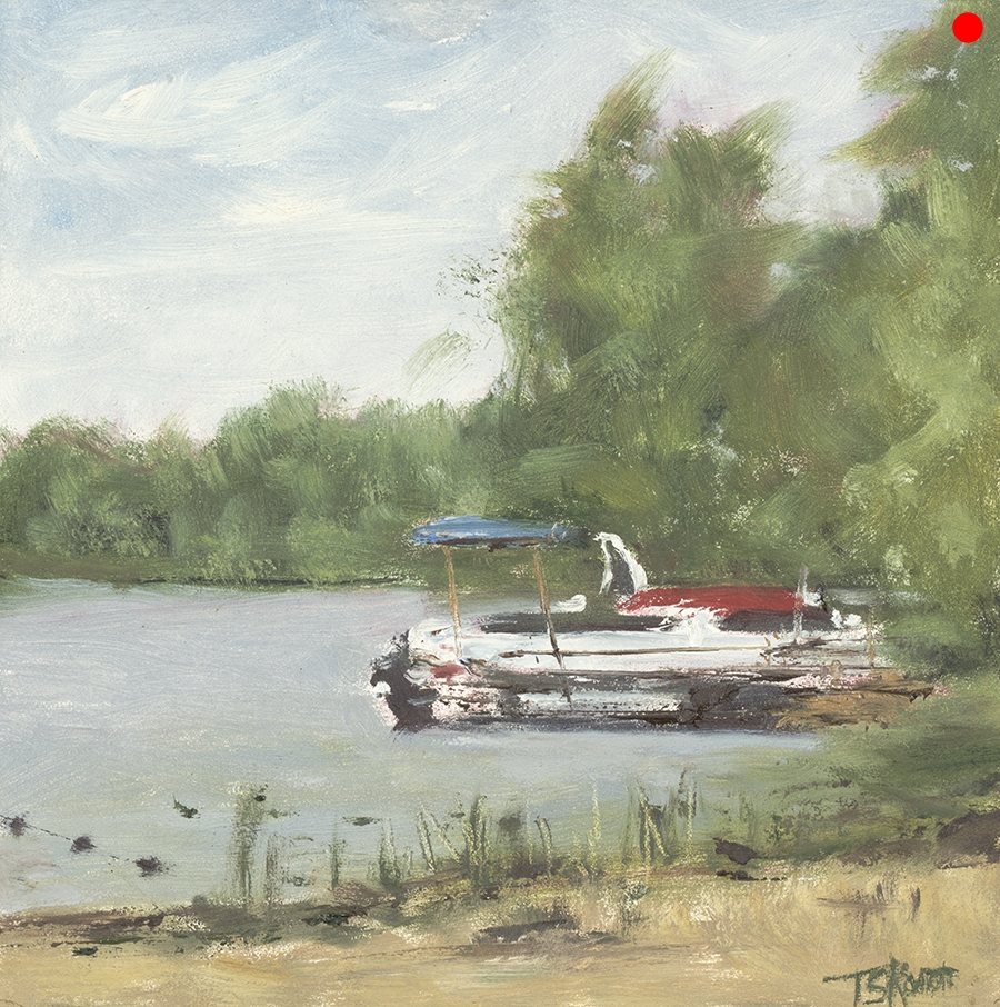 """Docked At Country Pond, Newton, NH - 6x6"""" oil on cradled panel"""