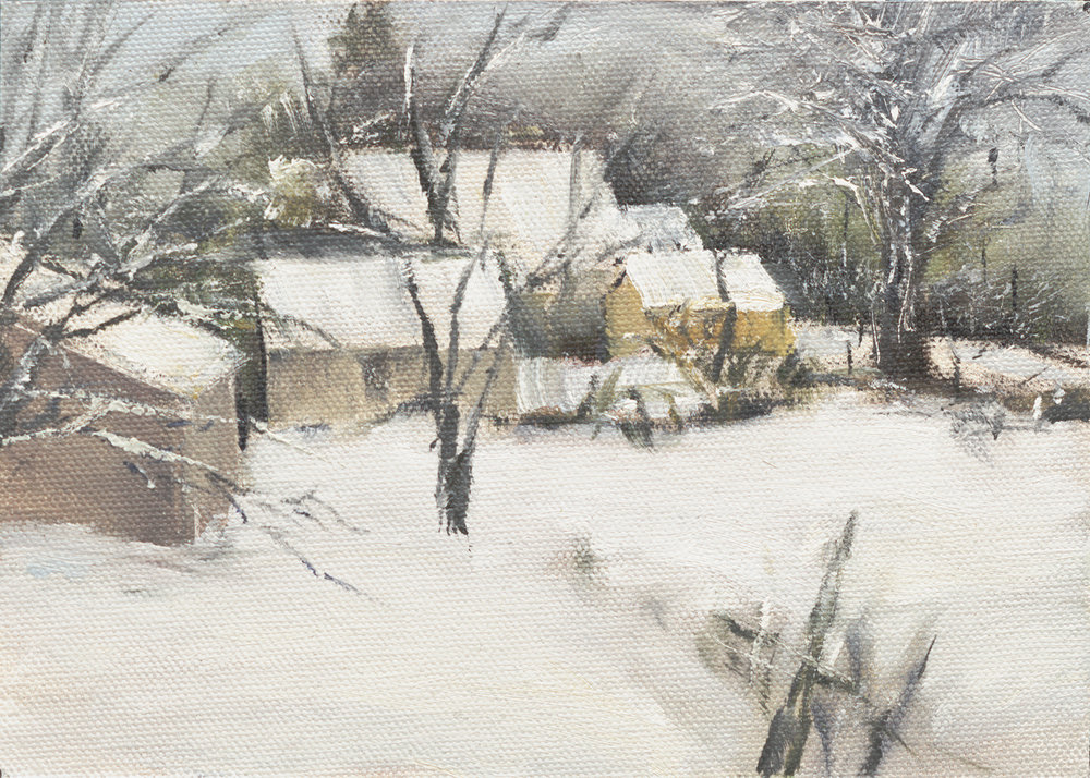"""Northern Comfort - 5""""x 7"""" oil on canvas panel in 2.5""""W blk frame"""