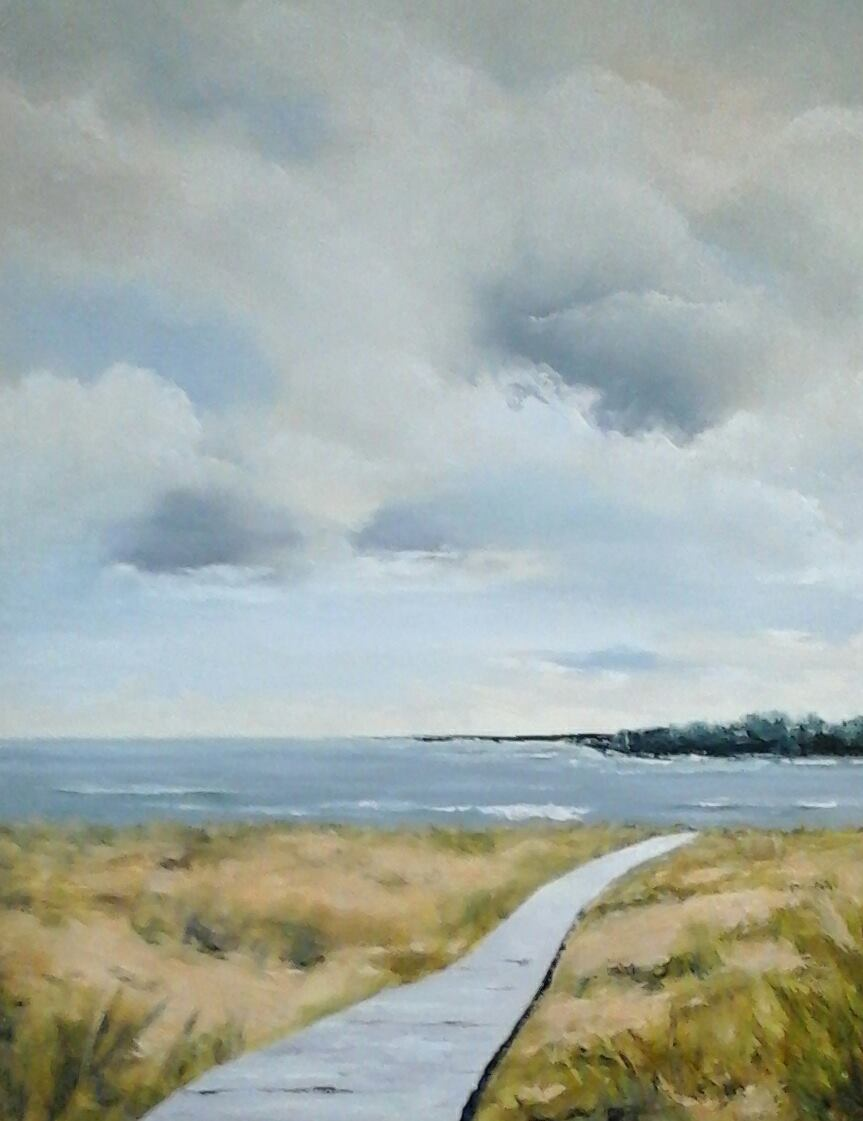 """Boardwalk at Plum Island  24"""" x 30"""" oil on gallery wrapped canvas"""
