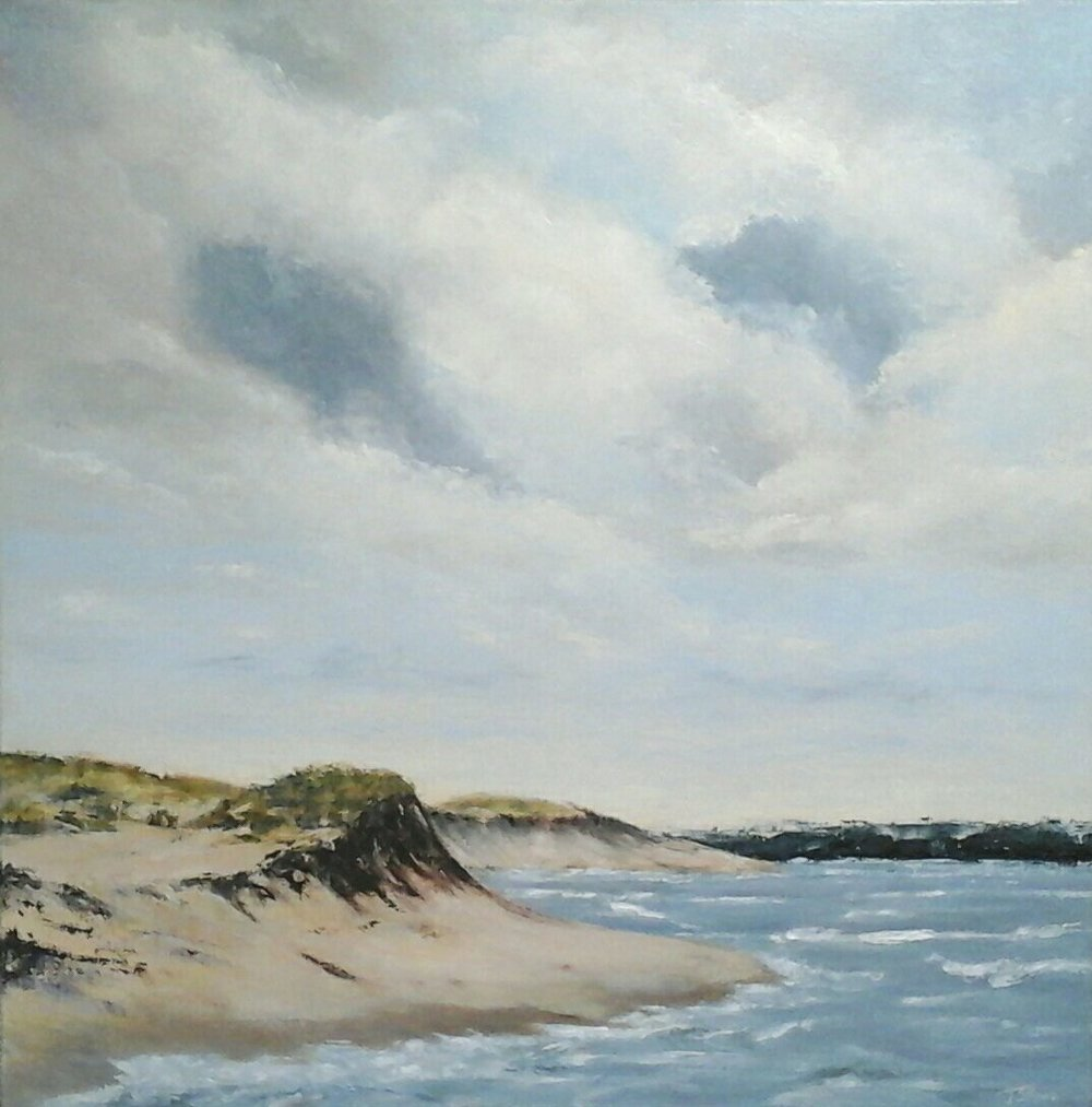 "Plum Island Dunes  30"" x 30"" oil on gallery wrapped canvas"