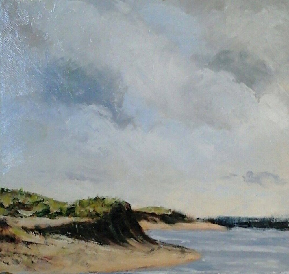 """Dunes At Plum Island, Study 12"""" x 12"""" oil on canvas in 3.5""""W black frame"""