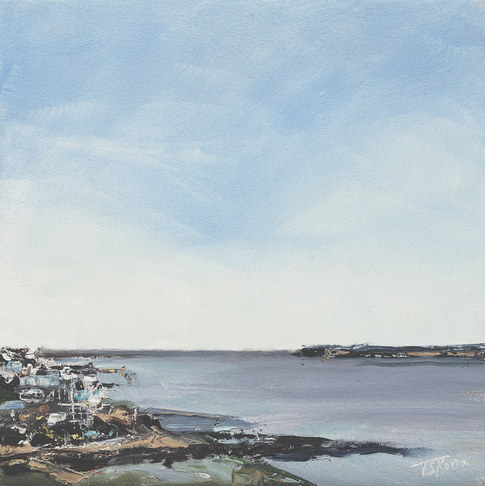 """Great Neck, Plum Island Sound - 8"""" x 8"""" oil on panel in 3.25"""" W black frame with gold liner"""