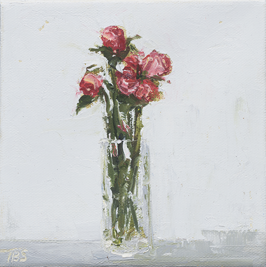 "Long Stem Rose Buds - 6"" x 6"" x 1.5"" oil on gallery wrapped canvas"