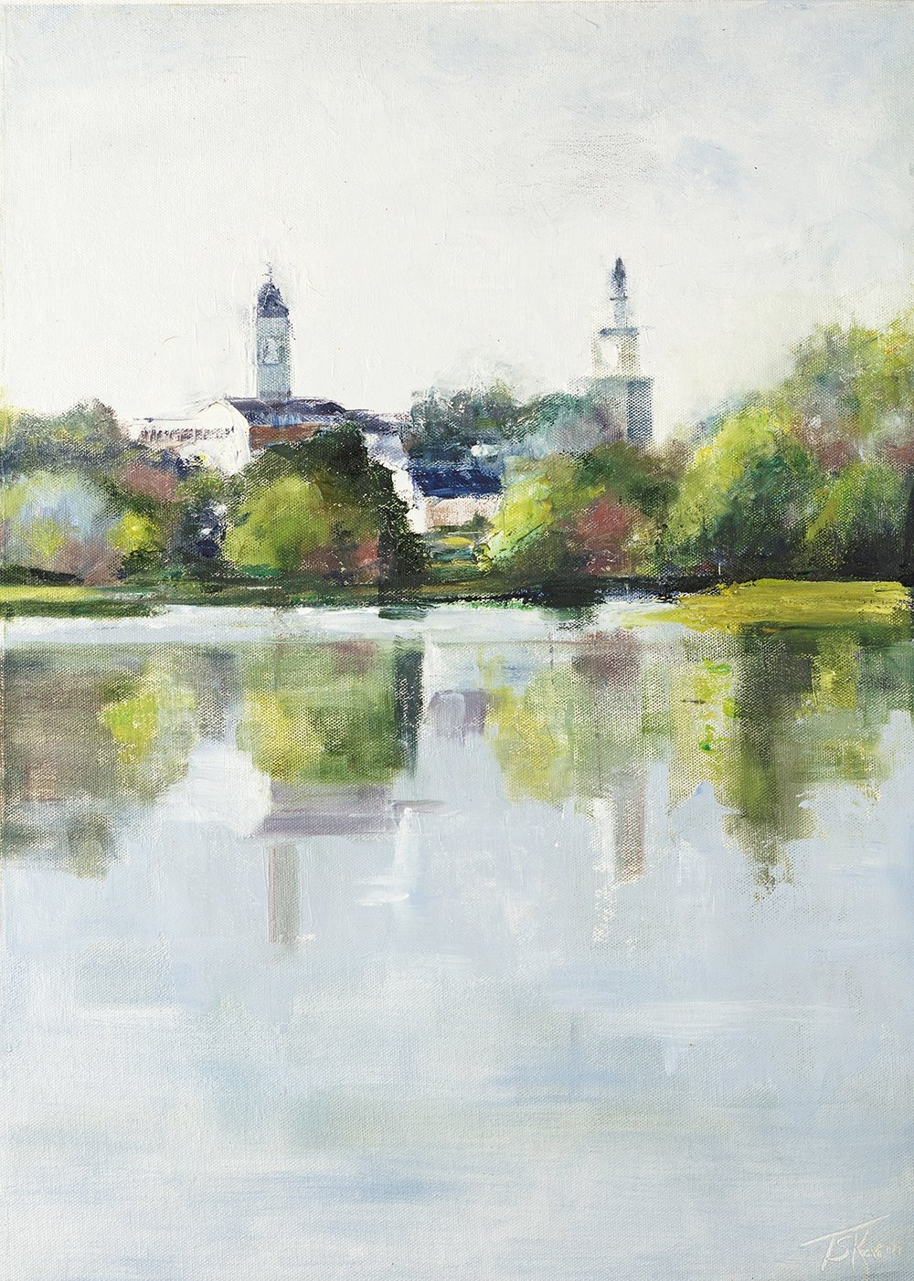 """Swasey Park - Exeter, NH, 15"""" x 20"""" oil on canvas panel in 3.25""""W black frame"""