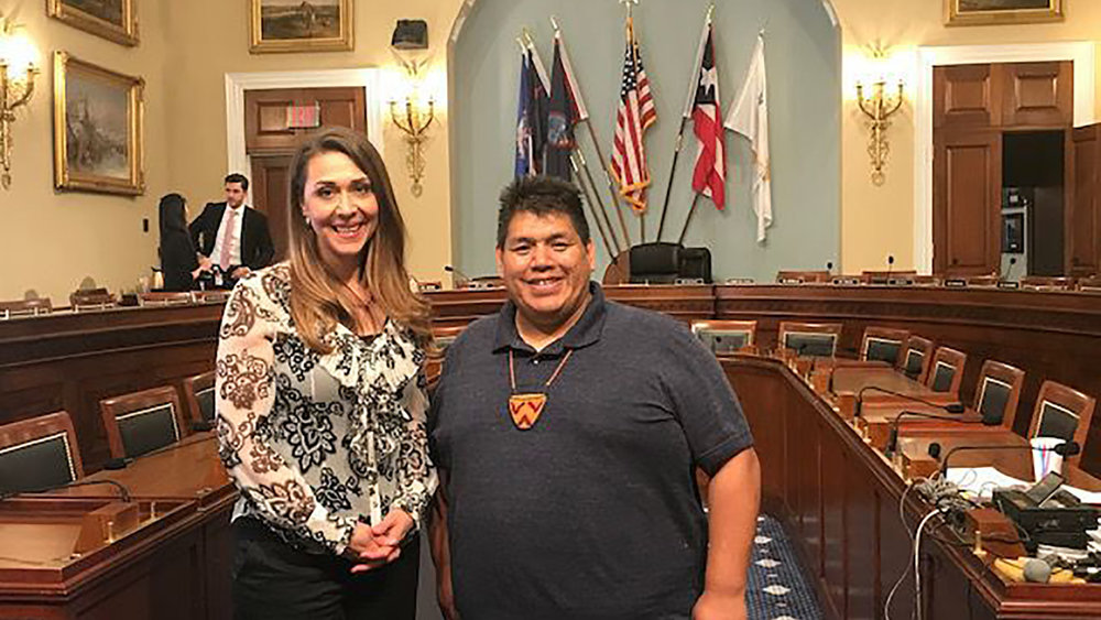 Rep. Jaime Herrera Beutler and Chehalis chairman Harry S. Pickernell Sr. at committee hearing for HR 5317. Image courtesy of SevenFifty Daily and Rep. Beutler's office.