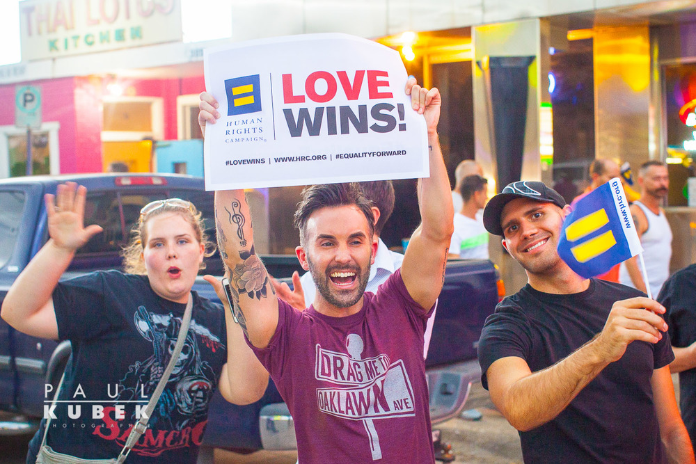 Love Rules - Spontaneous public celebration gathering at the Legacy of Love Monument, on Oak Lawn Blvd. at Cedar Springs Road, Dallas, Texas, June 26, 2015