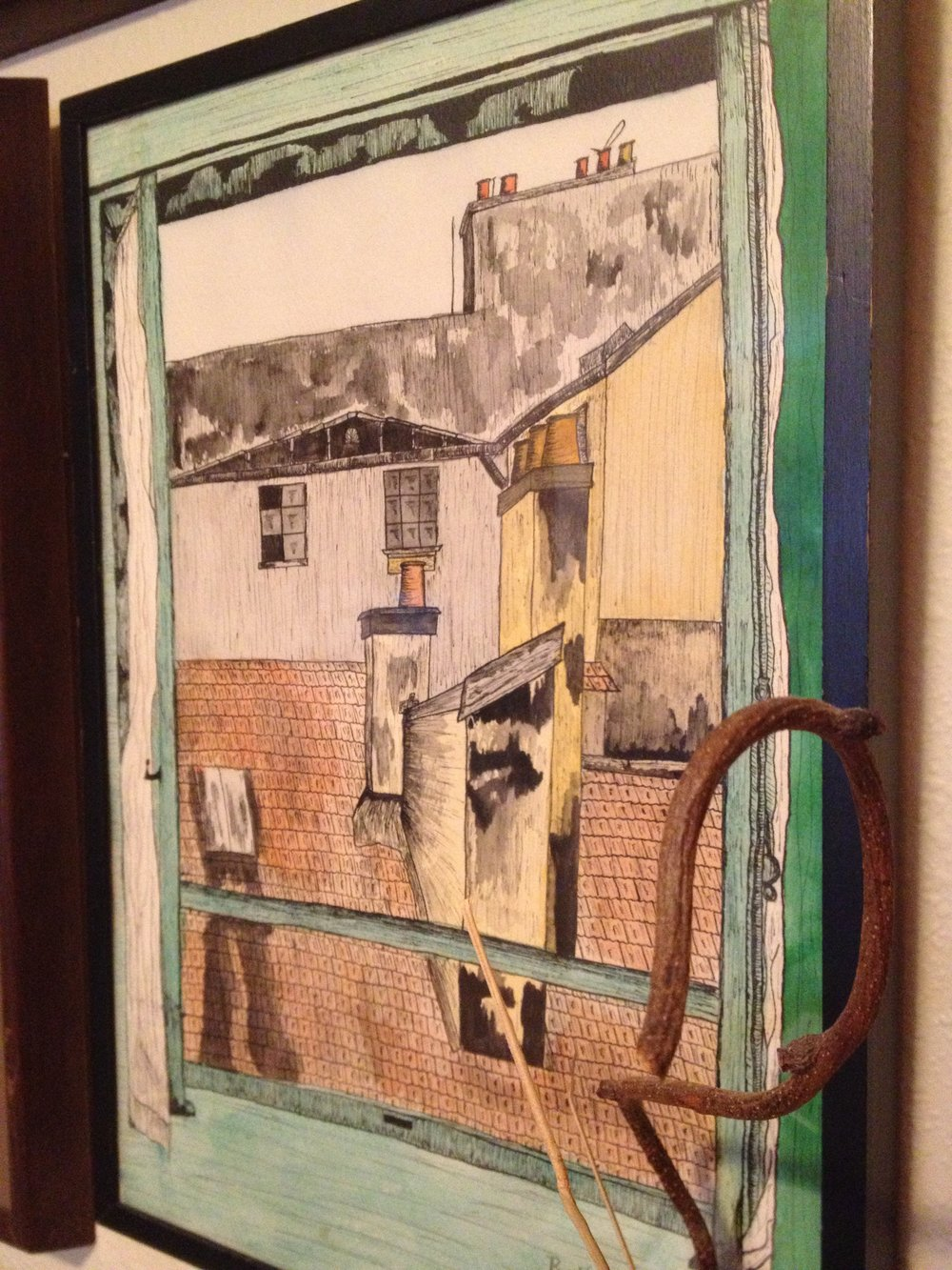 Bill painted this canvas depicting the view from the single window in his very small Parisian bedroom.