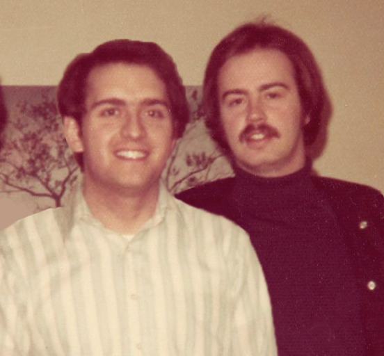 Dallas friend Frank Stotts (left) and Roger Kennedy (right) in about 1976