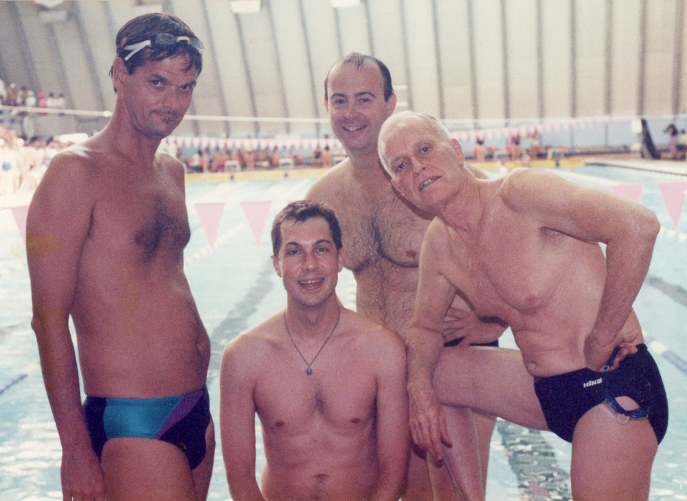 Gay Games 1986 :: Roger Kennedy in the rear. Phil Johnson on the right.