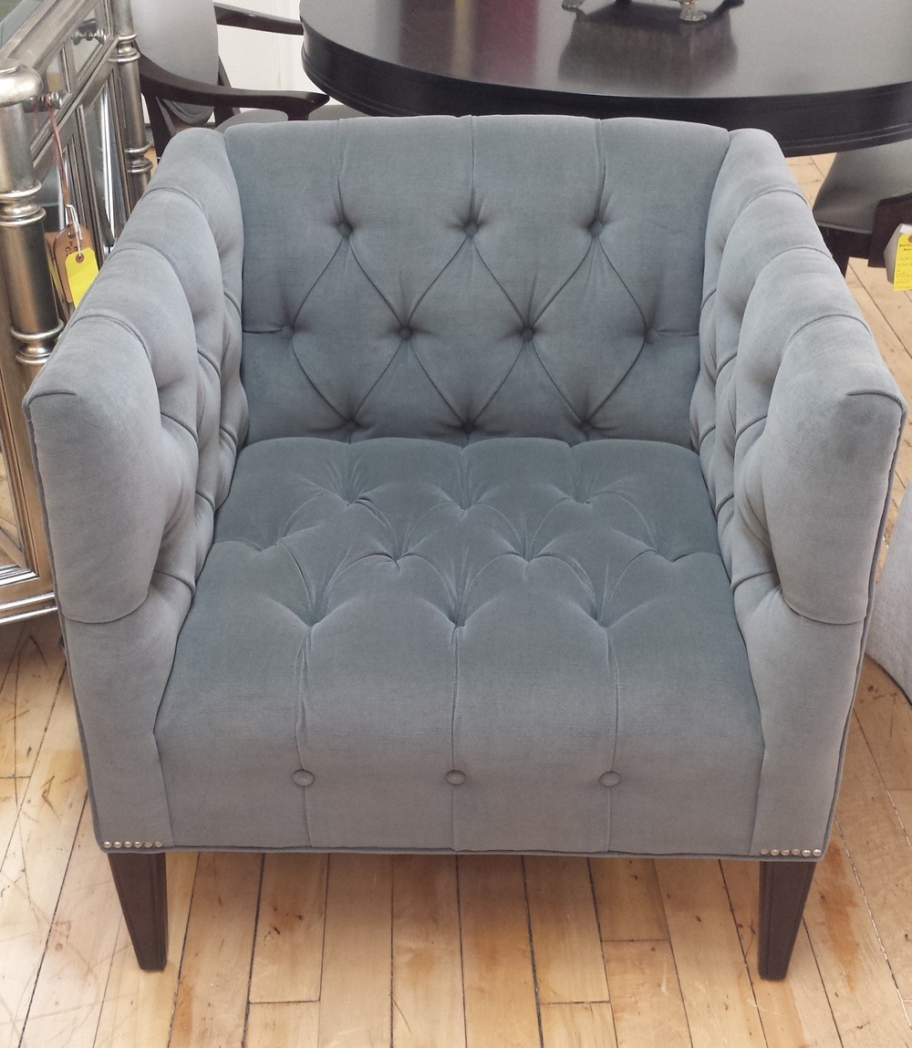 Wesley Hall Grey Tufted Chair