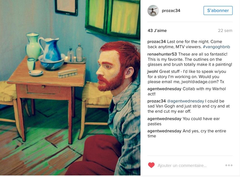 Les internautes se sont amusés comme des fous à poster leurs photos sur les réseaux sociaux. Ici l'instagramer Prozac34 dans la chambre Van Gg