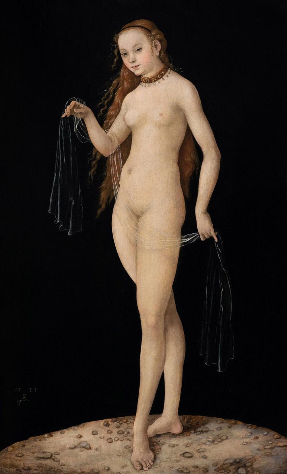 """Un des tableaux au coeur de l'affaire : """"Vénus au voile""""attribuée à Lucas Cranach,  datée « 1531 »,collection princière du Liechtenstein,"""
