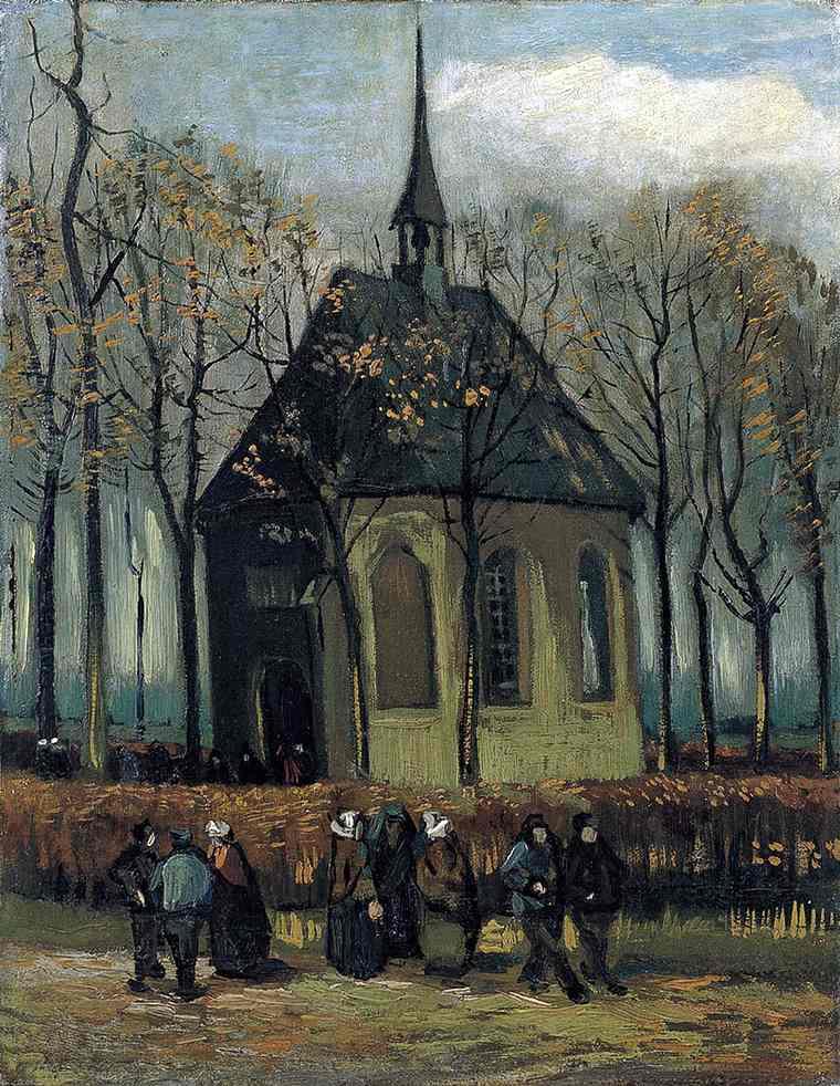 La congrégation quittant l'église réformée à Nuenen, Van Gogh,1884
