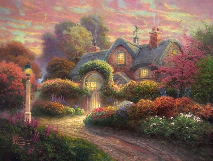 Rosebud Cottage by Thomas Kinkade