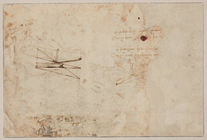 Des schémas géométriques au verso et des bribes d'écriture spéculaire : la signature de Léonard de Vinci