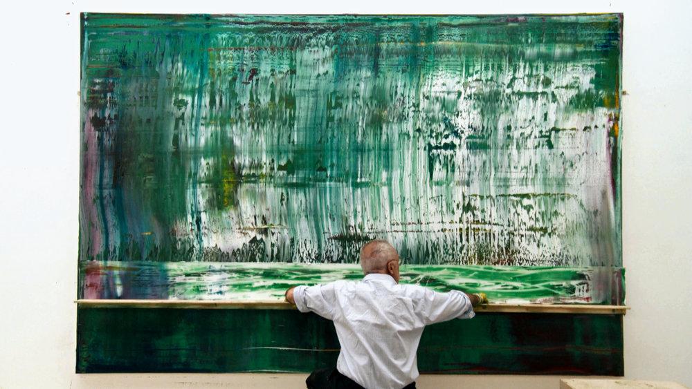 Gerhard Richter en pleine fabrication d'une Abstraktes Bild |  Extrait du film de Corinna Belz