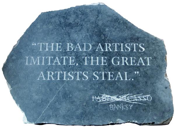 En février 2017 à Paris, la stèle en marbre et bois de Banksy  Picasso Quote  s'est envolée à393 400 €, soit plus du triple de son estimation (100 000 – 200 000 €).