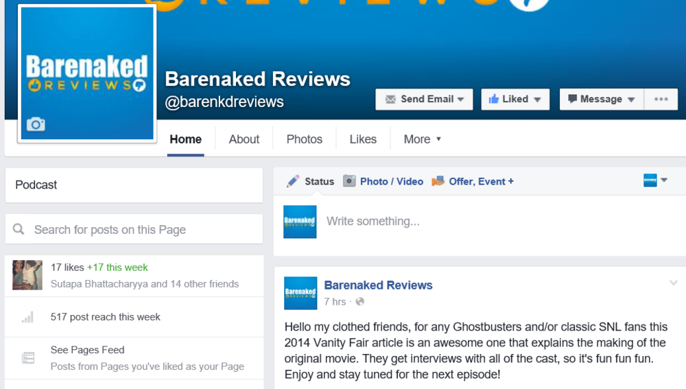 Facebook Page for Barenaked Reviews!