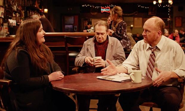 Stream on Hulu!  From left: Aidy Bryant (SNL), Steve Buscemi (Resevoir Dogs, Fargo), Louis CK