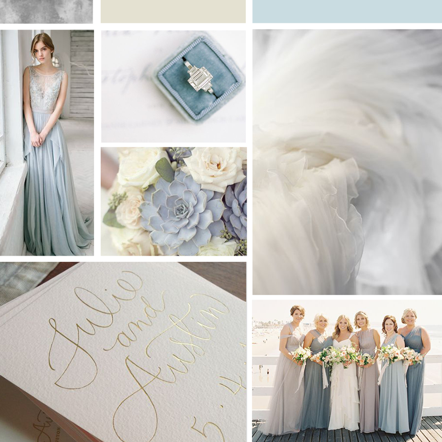 Mood board for Nina Winter wedding professional, creative wedding business, wedding stylist female entrepreneur. Feminine and pretty brand inspiration colors, Dusty blue, silver and stone color palette. Inspiration for this bridal business branding, brand design, brand board, brand style guide, social media facebook design and printed brand business materials. Wonderland Graphic Design.