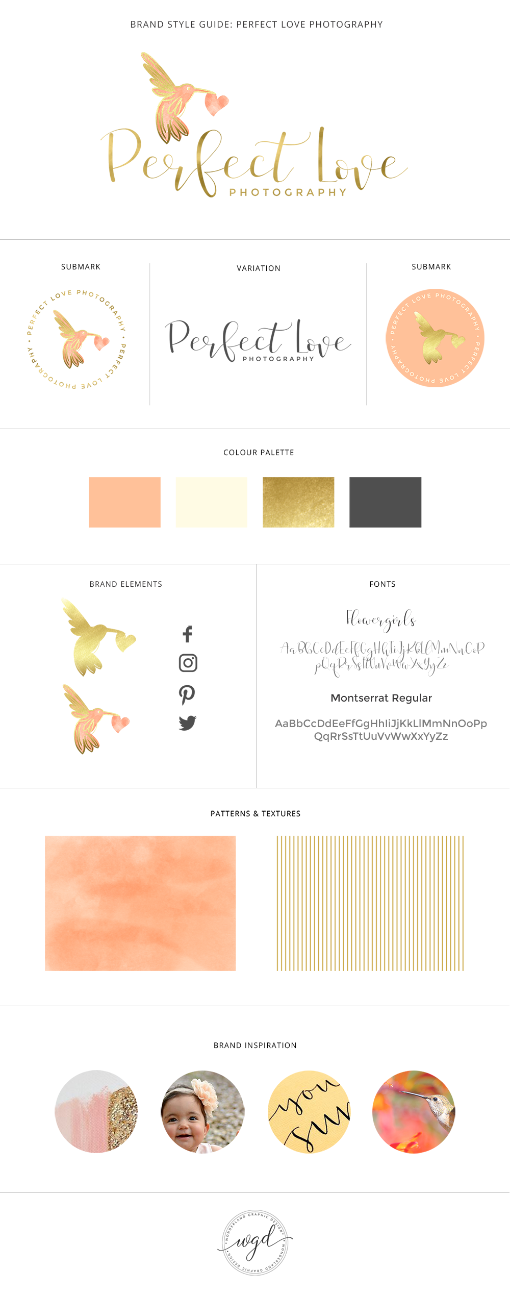 Brand board for Perfect Love Photography, brand style guide for the branding of children and family photographer including logo, submark, brand elements, beautiful script and sans serif fonts, warm feminine color palette of coral, peach, cream and gold, watercolor pattern and gold stripes. Branding for female entrepreneurs, business owners and bloggers. Click for mood board and social media branding!